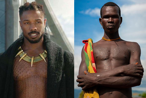 Nhân vật của Michael B. Jordan (trái) có những hình xăm nổi, thực hiện theo tục xăm mình bằng các vết sẹo của tộc Mursi và Surma ở Ethiopia. Các vết sẹo này vừa để khuếch trương sức mạnh, vừa giúp cải trang mỗi khi đi săn.