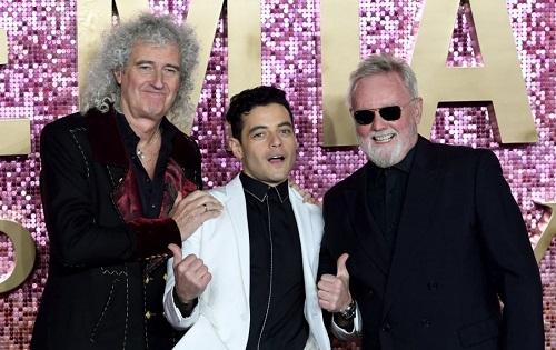 Rami Malek cùng Brian May (trái) và Roger Taylor - các thành viên nhóm Queen - ở buổi ra mắt Bohemian Rhapsody.