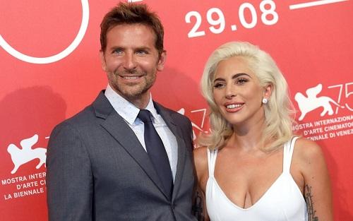 Bradley Cooper (trái) và Lady Gaga ở buổi ra mắt tác phẩm tại Liên hoan phim Venice (Italy).