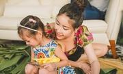 Con gái ba tuổi quấn quýt Hà Kiều Anh trong biệt thự 450 m2