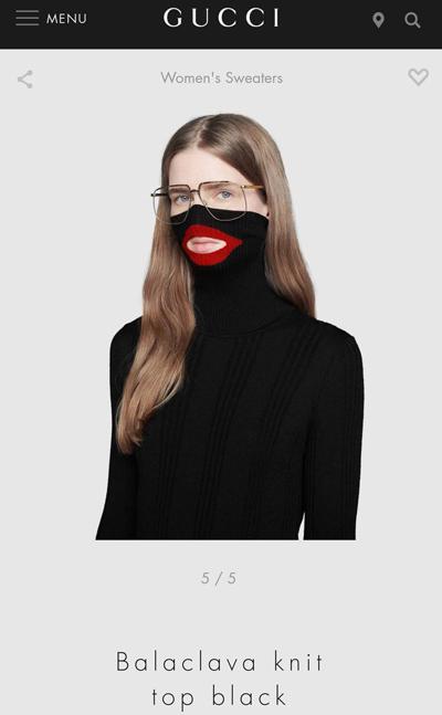 Hình ảnh chiếc áo len trước đó được bán trên website của Gucci.