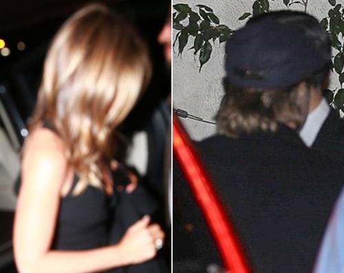 Jennifer Aniston và Brad Pitt khi bước vào bữa tiệc. Ảnh: Backgrid.
