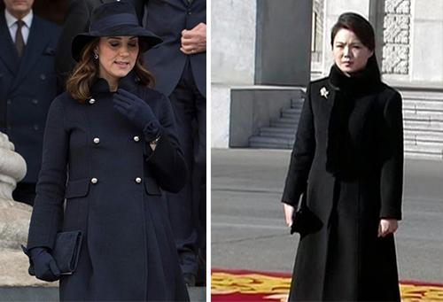 Trước đó, vợ của lãnh đạo Triều Tiên còn có nhiều bộ cánh gi vợ của hoàng tử Anh về màu sắc và kiểu dáng. Cô cũng thường xuyên buộc tóc nửa đầu như Kate và ít sử dụng hàng hiệu.