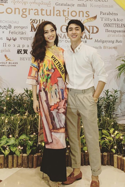 Khi Phương Nga tham gia cuộc thi Miss Grand International, Bình Ancũng âm thầm sangMyanmar cổ vũ bạn gái trong chung kết. Bức ảnh này được anh chia sẻ lại sau khi cả hai đã công khai tình cảm.
