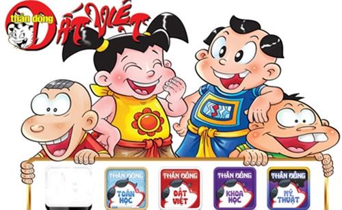 Bốn nhân vật chính của bộ Thần đồng đất Việt.