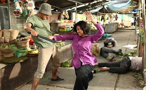 Ngô Thanh Vân tự đóng một cảnh hành động trong phim.
