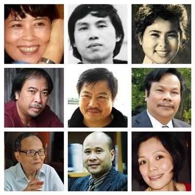 Chín trong số nhiều nhà thơ tham dự chương trình.