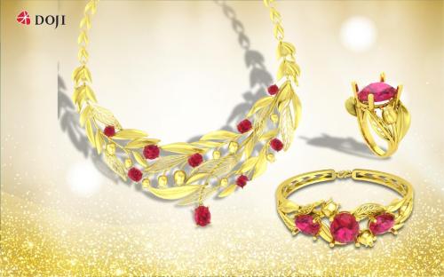 Bên cạnh dòng sản phẩm trang sức vàng 24K công nghệ mới, thương hiệu DOJI còn tạo dấu ấn với nhiều dòng sản phẩm khác như: Quận Chúa, Đông Tây, Hà Châu... kết hợp chất liệu vàng 24K với các nguyên liệu, phụ liệu khác như đá quý, đá bán quý, ngọc trai, ngọc cẩm thạch...Đây sẽ là những món quà đầy thành ý mà bất cứ người phụ nữ nào cũng chờ đợi được trao tặng trong dịp 8-3