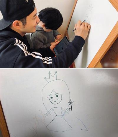 Huỳnh Hiểu Minh và con trai vẽ tranh chúc sinh nhật Angelababy.