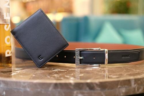 Bộ đôi ví da và thắt lưng nam bằng da bò nappa Italy, khóa thắt lưng bằng inox.