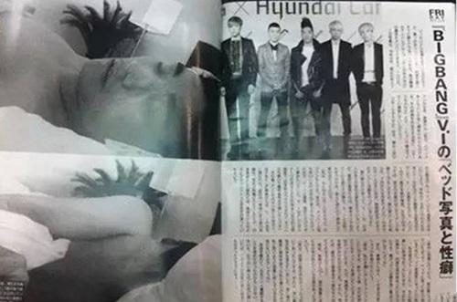 Ảnh giường chiếu của Seungri trên báo giấy của Nhật.