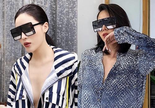 Kỳ Duyên và Minh Triệu cùng đeo kính Saint Laurent.