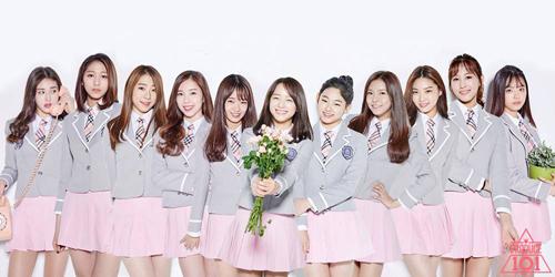 Một nhóm nữ sinh tham gia chương trình tuyển chọn tài năng Producer 101 ở Hàn Quốc.