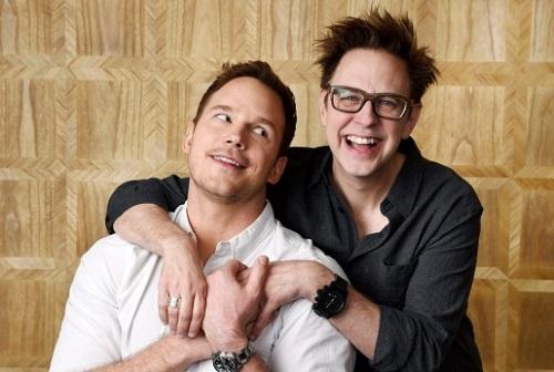 James Gunn (phải) và Chris Pratt - diễn viên chính Guardians of the Galaxy.