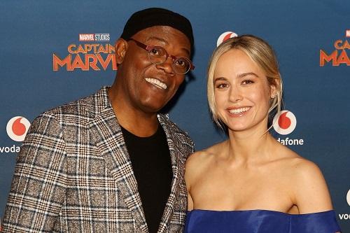 Brie Larson và Samuel L. Jackson ở buổi ra mắt Captain Marvel ở Anh.