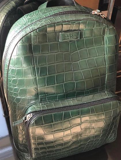 BalôGuccimàu xanh ngọc,được làm từ100% da cá sấucó giá 900 triệu đồng. Hoa hậu cho biết: Nhiều người mua túi cá sấu để đi tiệc cho sangnhưng tôi mua balôđể đi chơi thôi.