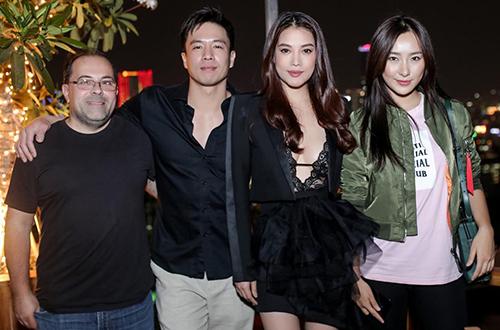 Từ trái sang: đạo diễn Ernie Barbarash, An Chí Kiệt, Trương Ngọc Ánh, diễn viênLily Ji ở buổi ra mắt dự án tạp TP HCM.