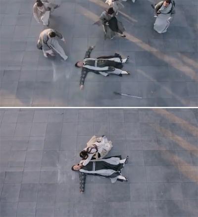 Trương Thúy Sơn tự tử, thanh kiếm rơi ở gần thi thể. Nhưng khi Ân Tố Tố chạy tới ôm Trương Thúy Sơn than khóc, thanh kiếm biến mất. Tổ đạo cụ nhanh tay nhanh chân quá, chưa gì đã dọn kiếm rồi, QQ bình luận.