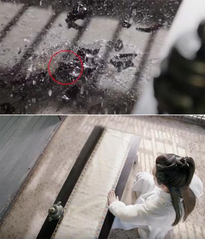 Dương Tiêu dùng nội lực hất bình gốm xuống nền, vỡ nát. Nhưng ở cảnh quay ngay sau đó, nền nhà sạch trơn.