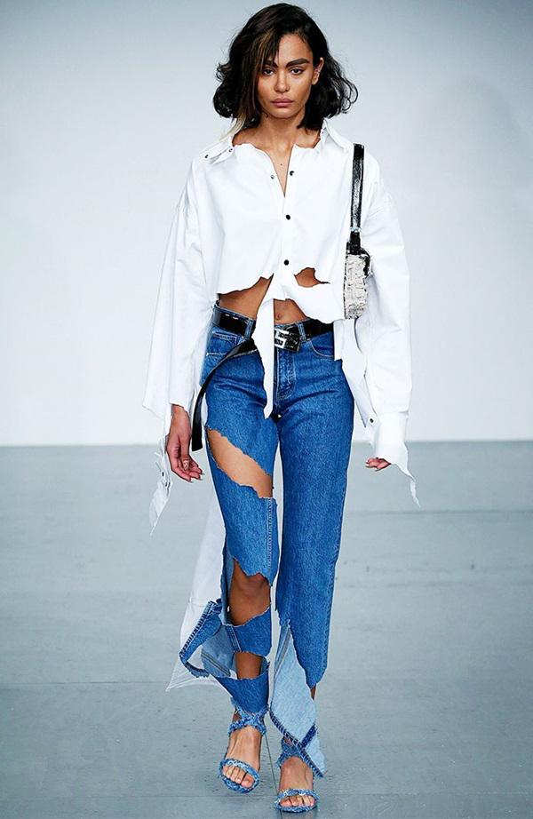Những kiểu quần jeans bị phá hủy cấu trúc