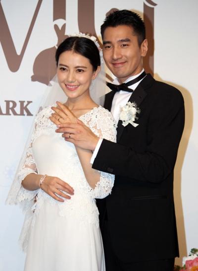 Cao Viên Viên và Triệu Hựu Đình ngày cưới.