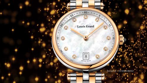 Romance là bộ sưu tập đồng hồ Louis Erard dành cho nữ giới. Chúng chiếm phần nhỏ trong số các sản phẩm của hãng,về Việt Nam với số lượng khiêm tốn. Các mẫu củaRomance có thiết kế nhẹ nhàng như nước nhưng có độấn tượng và sang trọng. Đây là BST đồng hồ nữ đầu tiên của hãng được trang bị dòng máy chạy bằng pin. Ở một số mẫugắn thêm kim cương quý.