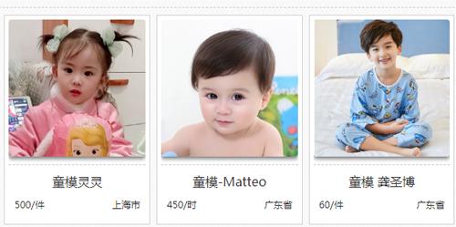 Hình ảnh trên một trang web môi giới mẫu nhí ở Trung Quốc.