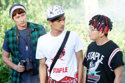 Từ trái qua: ba diễn viên chính gồm Huy Khánh, Mạc Văn Khoa, Hoàng Mèo.