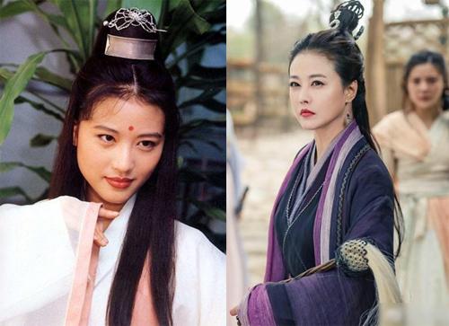Châu Hải My đóngChu Chỉ Nhược (trái)trong phiên bản 1994 và Diệt Tuyệt Sư Thái trong bản 2019.