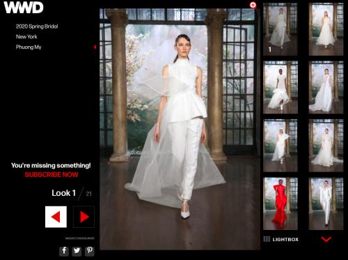 WWD.com - tờ báo danh tiếng về thời trang của Mỹ và Brides.com (trang báo danh tiếng về đồ cưới tại Mỹ)đăng tải lại toàn bộ hình ảnh BST cưới của Phuong My.  https://wwd.com/fashion-news/shows-reviews/gallery/phuong-my-bridal-spring-1203106480/https://www.brides.com/gallery/new-phuong-my-wedding-dresses-spring-2020