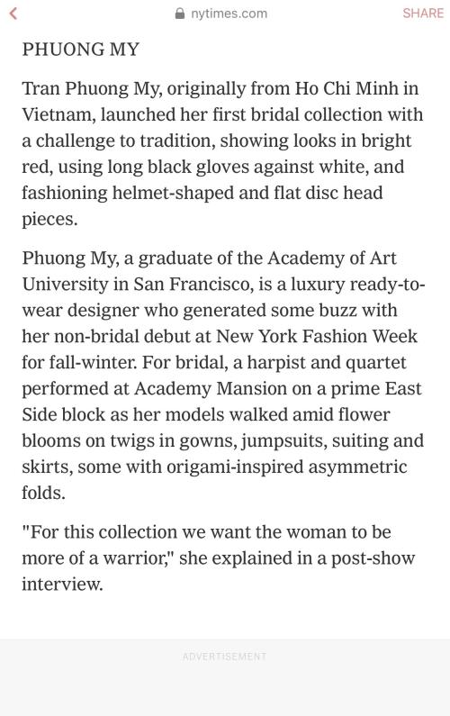 Phuong My xuất hiện trên nhiều báo Mỹ sau New York Fashion Week Bridal (bài xin Edit) - 2