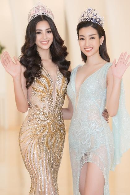 Tiểu Vy và Đỗ Mỹ Linh diện váy xuyên thấu dự sự kiện.