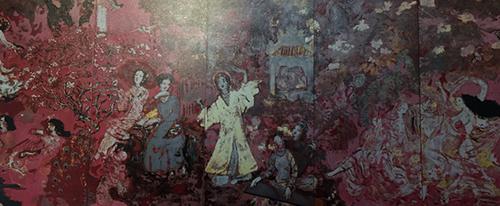 Ảnh chụp tác phẩm Vườn xuân Trung Nam Bắc trước khi làm vệ sinh Ảnh: Họa sĩ Nguyễn Xuân Việt được Bảo tàng Mỹ thuật TP.HCM cung cấp trong cuộc họp thẩm định