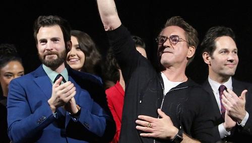 Từ trái sang: Chris Evans, Robert Downey Jr. và Paul Rudd ở buổi ra mắt Avengers: Endgame ở Mỹ. Ảnh: Disney.