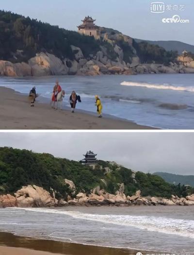 Cảnh thầy trò Đường Tăng trong Tây du ký phần hai được quay ở Phổ Đà Sơn của tỉnh Chiết Giang. Kiến trúc trong ảnh được gọi là Chiêu Dương Các.