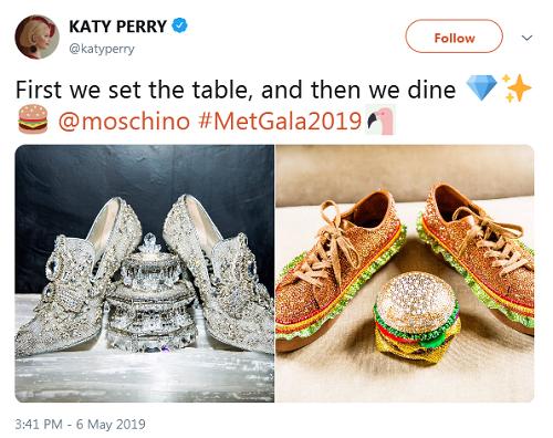 Katy Perry chia sẻ ý tưởng về hai bộ trang phục tại Met Gala. Ảnh: Twitter.