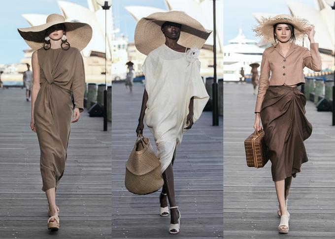 Người mẫu mặc váy linen, xách làn cói ở show Đỗ Mạnh Cường