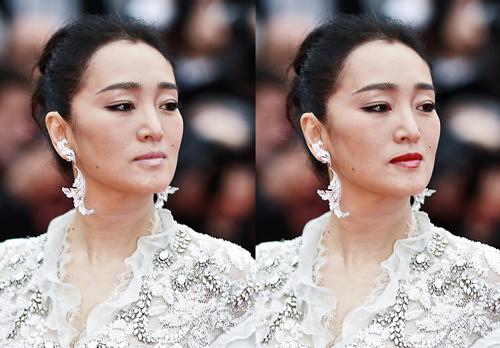 Khán giả chỉnh sửa màu môi của Củng Lợi (phải)để so sánh vớiviệc cô dùng màu son nude.