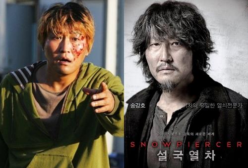 Song Kang Ho trong phim The host (Quái vật sông Hàn, trái) và Snowpiercer (phải).