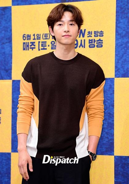 Song Joong Ki tại sự kiện quảng bá phim mới vào chiề 28/5.