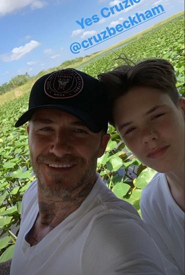 David Beckham chụp ảnh cùng con trai Cruz David (16 tuổi). Ảnh: Instagram.