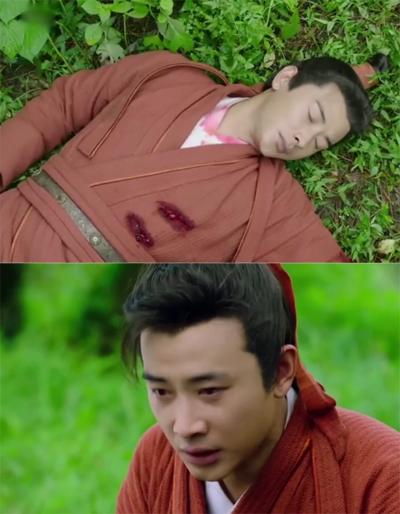 Dương Tiễn bị thương, vết máu dính trên cổ áo nhưng khi chàng tỉnh dậy, áo không còn vết máu.