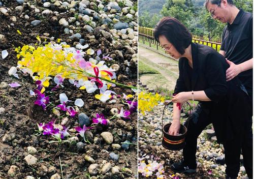 Quỳnh Dao rải hoa lên mảnh đất chồng yên nghỉ.
