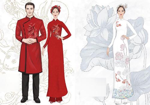 Mẫu thiết kế áo dài ăn hỏi và lễ rước dâu.