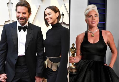 Lady Gaga (phải) bị nhắc tới nhiều trong mối quan hệ giữa Bradley và Irina. Ảnh: Gossip.