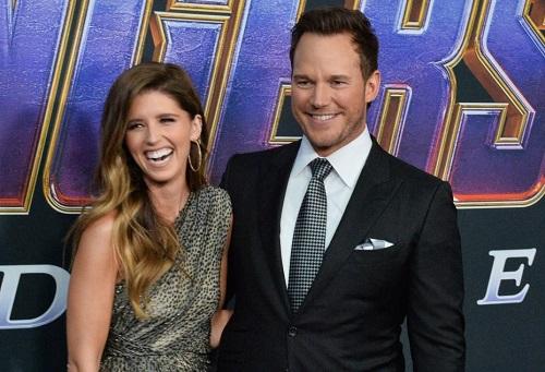 Chris Pratt (phải) và Katherine ở buổi ra mắt Avengers: Endgame.