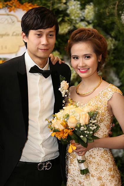Huyền Lizzie và chồng cũ trong đám cưới năm 2014.
