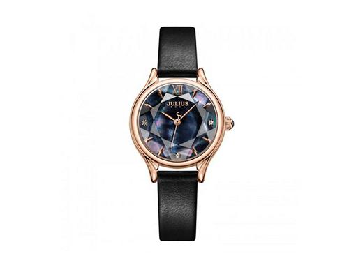 Đồng hồ nữ dây da chính hãng Julius Hàn Quốc JA-1154E (Đen)