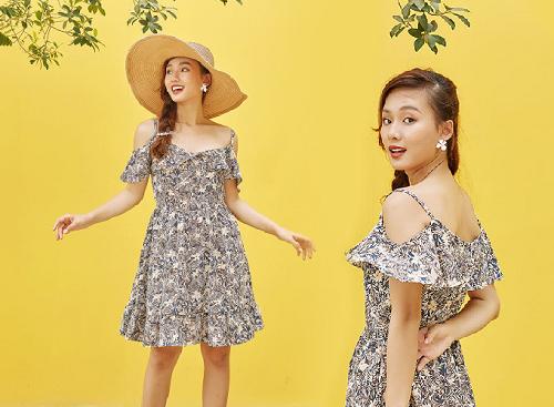 Đầm xòe thiết kế tay bèo mát mắt từ thương hiệu KIMI, chất vải đũi
