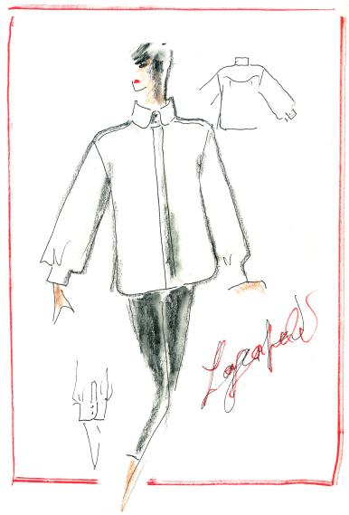 Bản vẽ thiết kế áo sơ mi trắng của Karl Lagerfeld được sử dụng trong dự án tưởng nhớ.